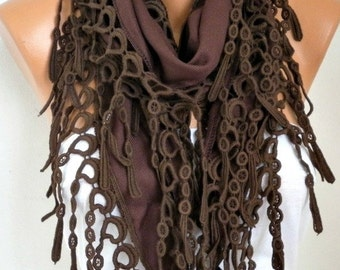 ON SALE --- Brown Scarf  Oversize Scarf Chocolate Pashmina Scarf Fringe Scarf Cotton Scarf  Cowl Gift Ideas For Her Women Fashion Accessorie