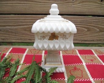 Vintage Westmoreland Compote Milk Glass Wedding Bowl Candy Dish Gold Leaf & Grape Pattern