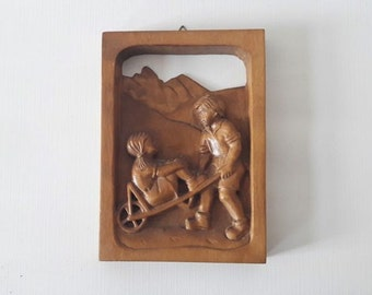 Vintage Wooden Hand Carved Children Sculpture Wall Hanging