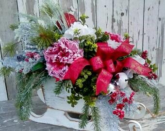 Christmas Sleigh Arrangement, Holiday Arrangement, Rustic Cottage, Woodland, Log Cabin, Large arrangement