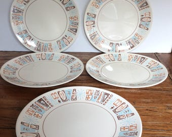 Vintage Taylor Smith Taylor Moderne Ironstone Dinner Plates / Mid Century Dinner Plates / Taylorstone Plates