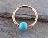 16 Gauge CBR Rose Gold Cartilage Hoop Earring Turquoise Stone Tragus Hoop Helix Conch