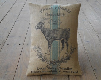 Goat Feed Burlap Pillow, rustic farmhouse, industrial chic, Farmhouse Pillows, INSERT INCLUDED
