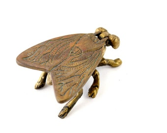 Vintage Metal Fly Ashtray / Trinket Box with Pivoting Wings (c.1960s) - Collectible Ashtray, Trinket Holder, Insect Oddity