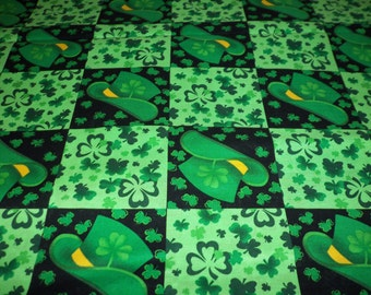 St. Patrick's Day Fabric Shamrocks Leprechaun Hats Luck of the Irish By The Fat Quarter New BTFQ