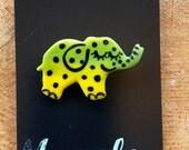 Elephant Brooch/pin/button/badge.Ceramic/Porcelain .Kawaii Elephant badge.Handmade in Wales ,Uk