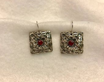 Fine Silver 999 Earrings with Natural Red Sapphire Gemstones
