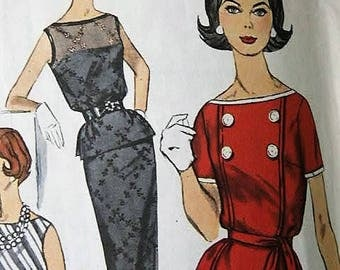 Vintage 1960's Simplicity Woman's Misses Two Piece Dress with Slim Skirt & Kick Pleat Sewing Pattern 3879 Size 16 Bust  36