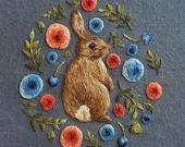 Rabbit in Flowers Greetings Card