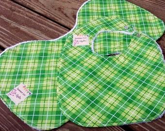 SALE - 15% OFF - Baby Boy Bib and Burp Cloth Set - Green Plaid Baby Bib and Burp Rag  - Ready to Ship