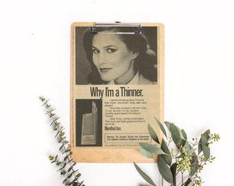 Black and White Magazine Ad • Smoking Was Cool • Marketing Cigarettes • Silva Thins Filter Menthol • Long Elegant Cigarettes • Nicotine Tar