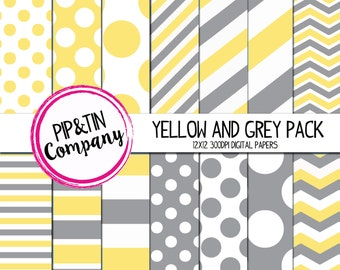 Yellow and Grey Digital Paper Pack, Scrapbook Paper, Instant Download,  Polka Dots Stripes
