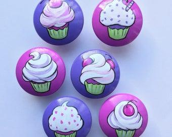 Purple Cupcakes Drawer Pulls / Pink Cupcake Pulls/  Dresser Knobs / Closet Handles / Hand Painted for Girls, Kids, Nursery Rooms