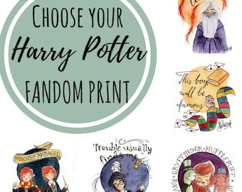 CHOOSE PRINT Characters Harry Potter - Fandom art print - Harry Potter Painting- Disney Painting - Book lovers - Gifts for Booknerds
