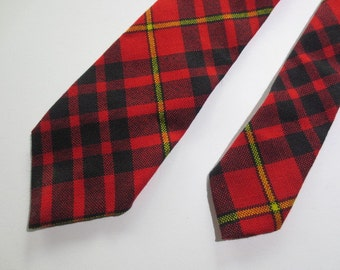 "Wool Necktie // Plaid Wool Tie // MacDonald of Ardna Murchan Tartan //  Made in Scotland // Red Black Yellow Plaid...3"" X 54"""