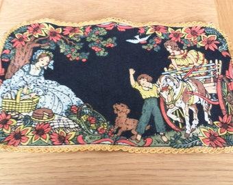 Antique Doily Painted on Felt-Mother/Children/Horse/Dog Picnic