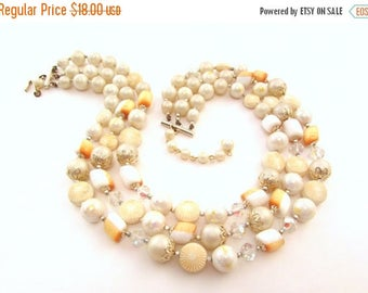 ON SALE Japan Multi Strand Beaded Necklace - Orange, White, AB Crystal Accent Beads