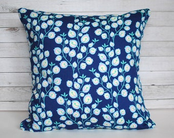 Blue floral throw pillow cushion cover. One cover for 20x20 pillow insert. Cottage decor shabby chic colorful sofa cushion nursery decor