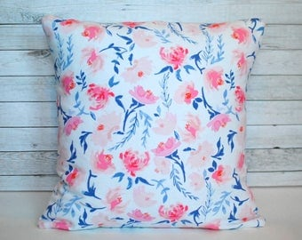 Pink floral throw pillow. Shabby chic pillow cover. 1 cover for 20x20 pillow insert. Farmhouse pillow. Pillow with flowers. Cottage style