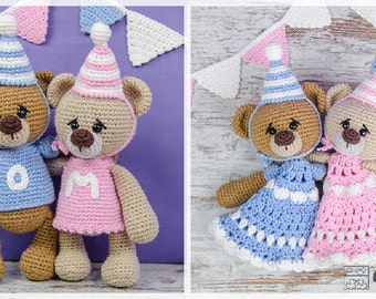 Combo Pack - Mia and Owen the Birthday Bears Lovey and Amigurumi Set for 7.99 Dollars - PDF Crochet Pattern Instant Download - Special Offer