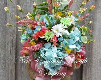 ON SALE Spring Wreath, Spring Swag, Floral Wall Bouquet, Country French Decor, Elegant Spring Bouquet, Designer Wreath