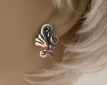 Vintage Mexico Maricela Tasco Taxco 925 Sterling Screw Back Earrings