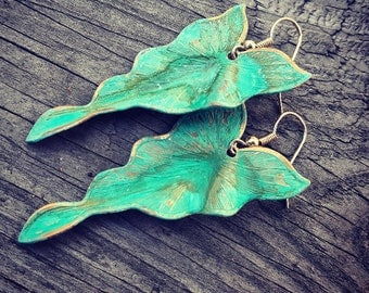 30% off any order VERDIGRIS Leaf Earrings