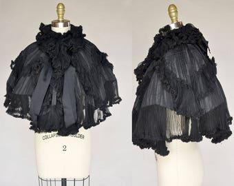 Antique Victorian Silk Chiffon and Taffeta Cape Capelet with Accordion Pleating Ruffles High Collar