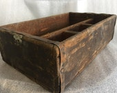 Vintage Wood Toolbox, crate, bin, shelf, bookend, organizer for rustic home decor