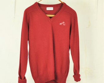 Vintage Sweater Mens Medium 1980s Pullover Jumper VNeck Sportswear Unisex Washable Deep Garnet Red Made in USA America
