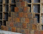 Antique Toy Wooden Blocks, ABC Letter Blocks, 34 in set, Victorian Toys