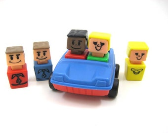 Vintage PlaySkool Little Square Head People with Car, 2 Girls, 3 Boy Block Figures, Blue and Red Vehicle