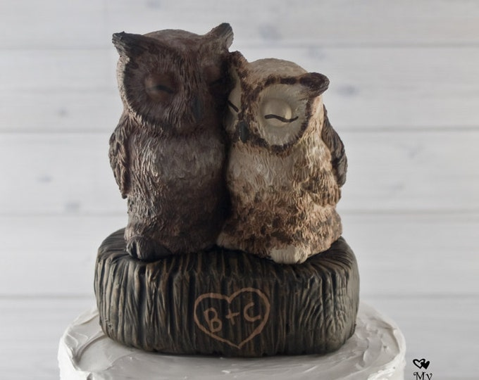 Great Horned Owl Love on a Stump Custom Wedding Cake Topper