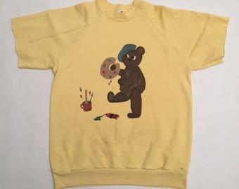 Vintage Hand Painted Painting Teddy Bear Short Sleeve Crew Neck Sweatshirt