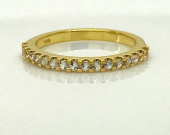 14K solid gold half eternity engagement ring, white sapphire ring,  stack ring, yellow gold wedding band, eternity ring, size 5.75