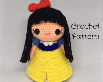 Snow White Doll Crochet doll Pattern - PDF Pattern, Amigurumi