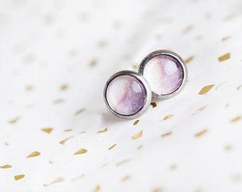 Pastel Purple White Studs, Lavender, Pastel Purple, Pastel Studs, Lavender Studs, Lavender Earrings, Pale Color Earrings, Subtle, Dreamy