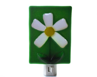 Fused Glass Night Light Daisy Flower