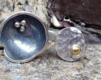 Sterling silver bowl ring,Modern ring,urban ring,Open statement ring