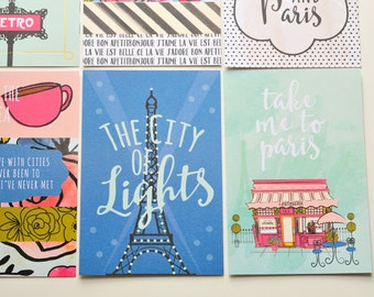 Paris Journaling Cards // Set of 6 // 4x6 // Project Life // Planner Cards // Planner Accessories // Scrapbooking // Travel Journal