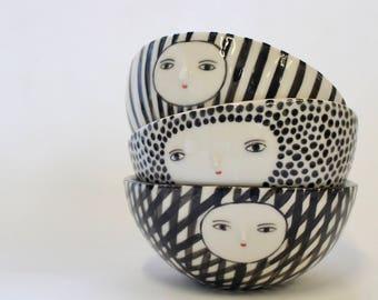 Porcelain striped bowl