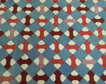 "Antique quilt  Bow tie 1880-1920 hand quilted  double border Cadet blues and red/black cotton fabrics 67"" x 72"""