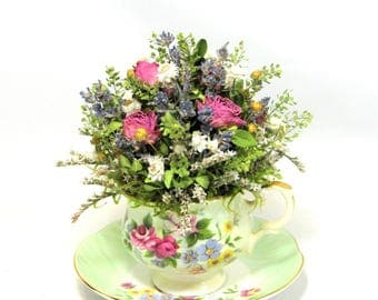 Tea Cup Arrangement with Dried Roses, Dried Flowers, Dried Flower Arrangement