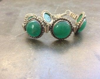 Jade and silver bracelet / primitive jewelry