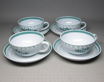 Arabia green thistle 4 cups and saucers