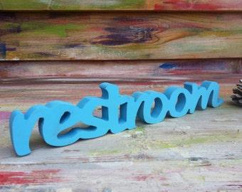 Restroom sign. Sign restroom. Wall decor wood sign restroom. Door sign restroom. Store sign.