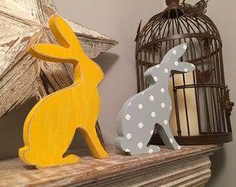 Painted Wooden Hares, Pair of Hares, Wooden Rabbits, Pair of Rabbits, Choice of Colours and Finishes, Made in UK