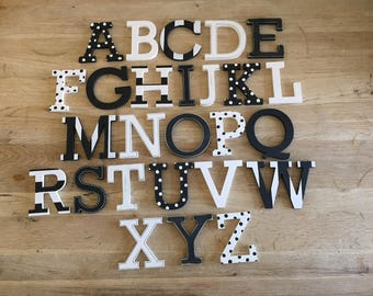 Full Wooden Alphabet - Hand Painted Wooden Letters Set - 26 letters - 10cm high - Rockwell Font