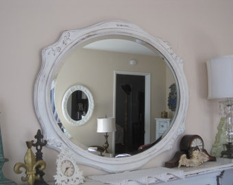 Large Wood Victorian Detailed Framed - Beveled Cameo Wall Mirror - Shabby Chic Distressed in Creamy White