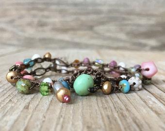 Beaded crochet wrap bracelet - artisan boho - everyday wrap boho - yoga boho - boho bracelet - boho wrap bracelet - valentines day
